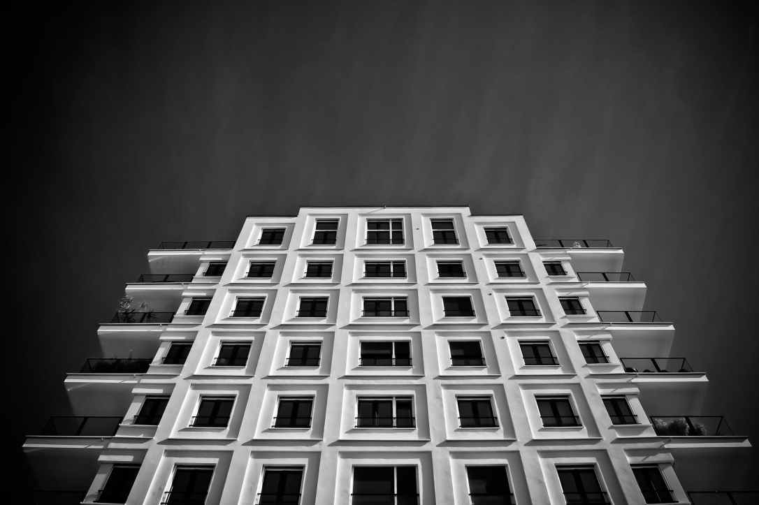 abstract architecture balcony black and white